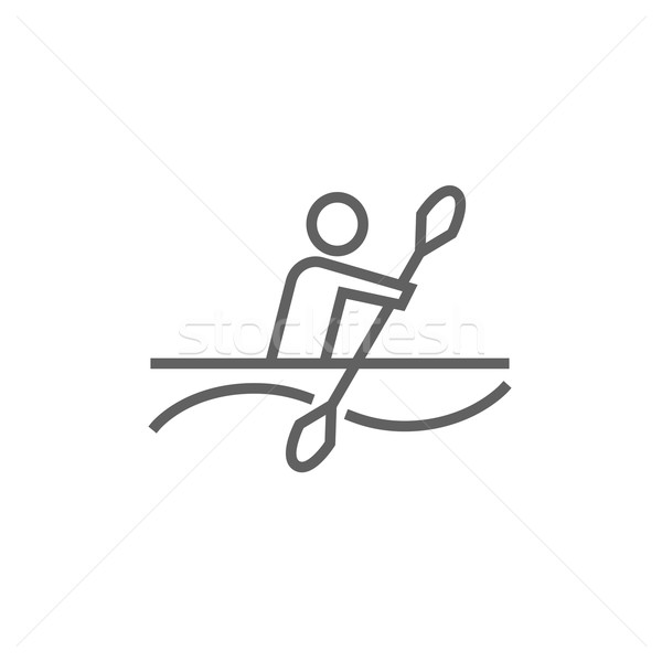 Man kayaking line icon. Stock photo © RAStudio