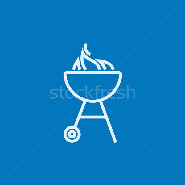 Ketel barbecue lijn icon vlam hoeken Stockfoto © RAStudio