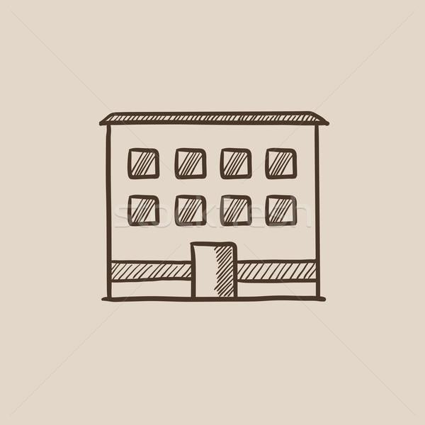Prédio comercial esboço ícone teia móvel infográficos Foto stock © RAStudio