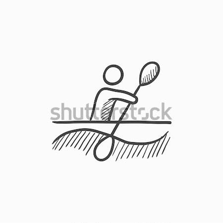 Man kayaking sketch icon. Stock photo © RAStudio