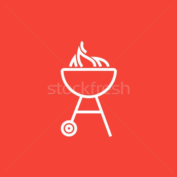 Bogrács barbecue grill vonal ikon láng sarkok Stock fotó © RAStudio