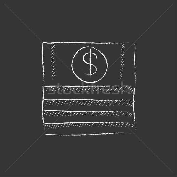 Stack of dollar bills. Drawn in chalk icon. Stock photo © RAStudio