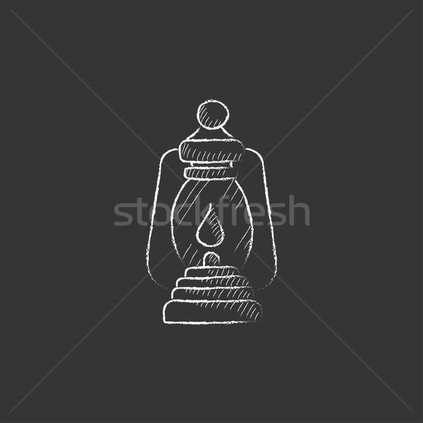 кемпинга фонарь мелом икона рисованной Сток-фото © RAStudio