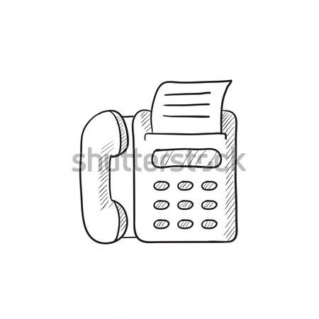 Télécopieur craie icône dessinés à la main vecteur Photo stock © RAStudio