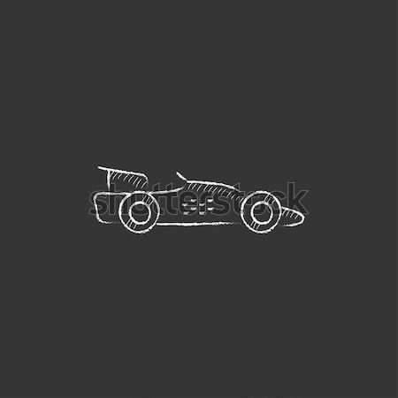 Race car. Drawn in chalk icon. Stock photo © RAStudio