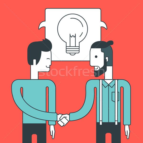Sikeres üzlet üzlet két férfi áll szemtől szembe Stock fotó © RAStudio