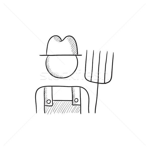Farmer with pitchfork sketch icon. Stock photo © RAStudio