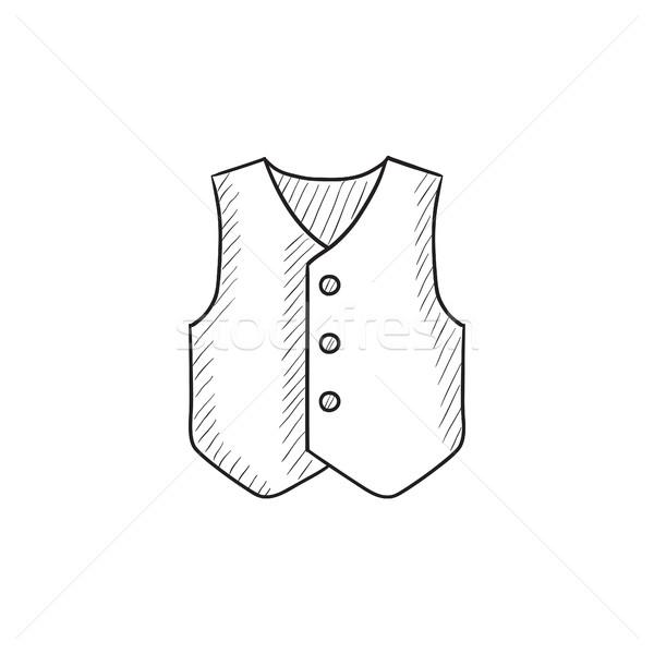 Vest schets icon vector geïsoleerd Stockfoto © RAStudio