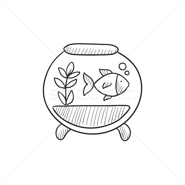 Stock photo: Fish in aquarium sketch icon.