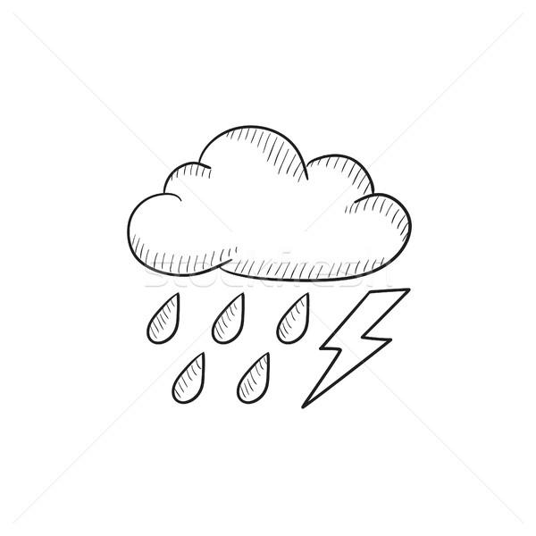 облаке дождь эскиз икона вектора Сток-фото © RAStudio