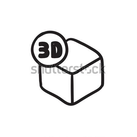 Drie vak schets icon vector geïsoleerd Stockfoto © RAStudio