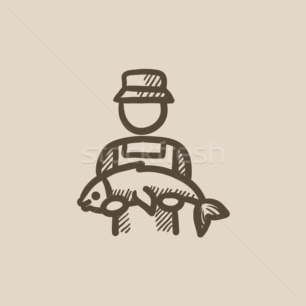 Fisherman with big fish sketch icon. Stock photo © RAStudio