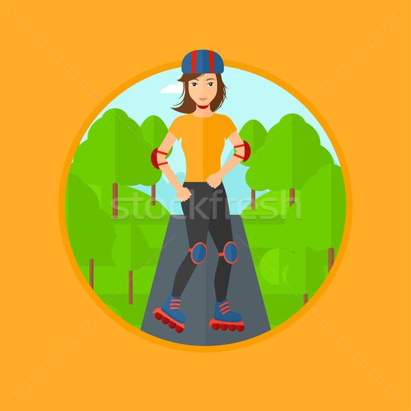 Sporty woman on roller-skates. Stock photo © RAStudio