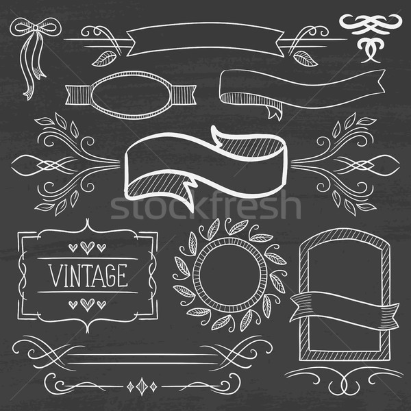 Foto d'archivio: Set · vintage · nastri · fotogrammi · lavagna · etichette
