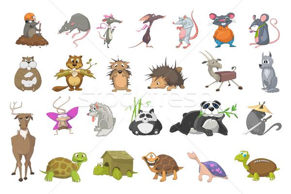 Foto stock: Vetor · conjunto · animais · ilustrações · toupeira · terra