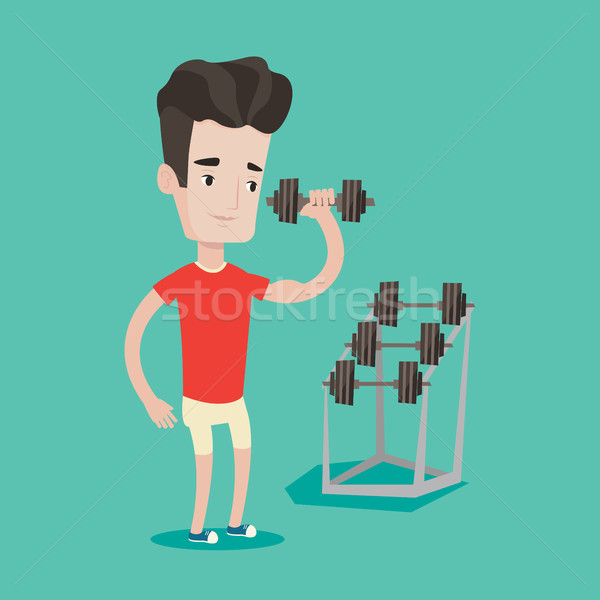 Man lifting dumbbell vector illustration. Stock photo © RAStudio