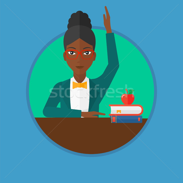 Estudante mão classe responder feminino sala de aula Foto stock © RAStudio