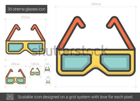 Three d cinema glasses line icon. Stock photo © RAStudio