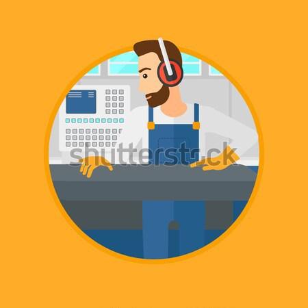 человека рабочих металл прессы машина работник Сток-фото © RAStudio