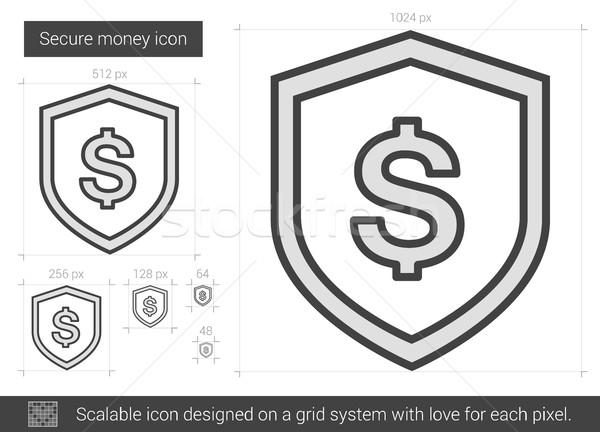 Stock fotó: Biztonságos · pénz · vonal · ikon · vektor · izolált