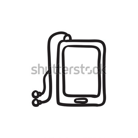 Tablet with headphones sketch icon. Stock photo © RAStudio