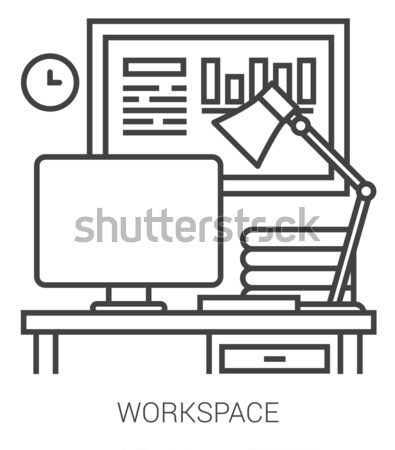 Stock photo: Workplace line infographic.