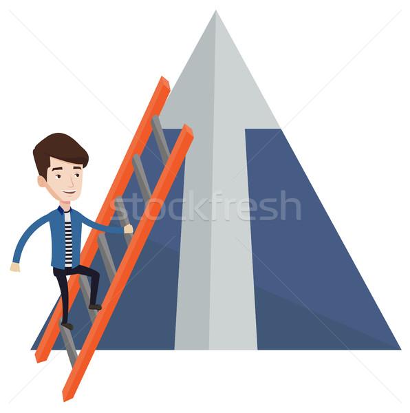 商业照片 / 矢量图: 商人 · 攀登 · 山 · 阶梯 · 箭头 · 上