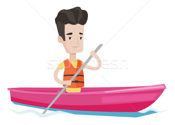 Man riding in kayak vector illustration. Stock photo © RAStudio