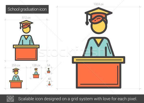 Foto stock: Escolas · graduação · linha · ícone · vetor · isolado