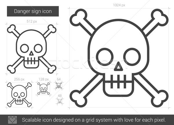 знак опасности линия икона вектора изолированный белый Сток-фото © RAStudio