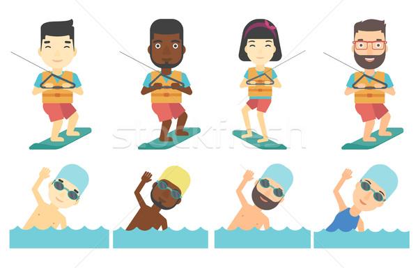 Vector set of water sport characters. Stock photo © RAStudio