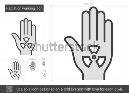 Radiação aviso linha ícone vetor isolado Foto stock © RAStudio