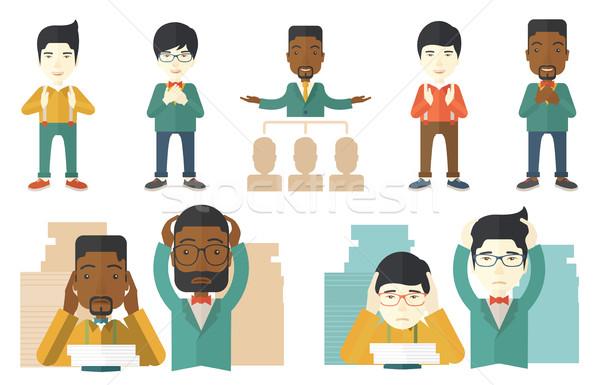 Vector establecer ilustraciones gente de negocios triste Foto stock © RAStudio