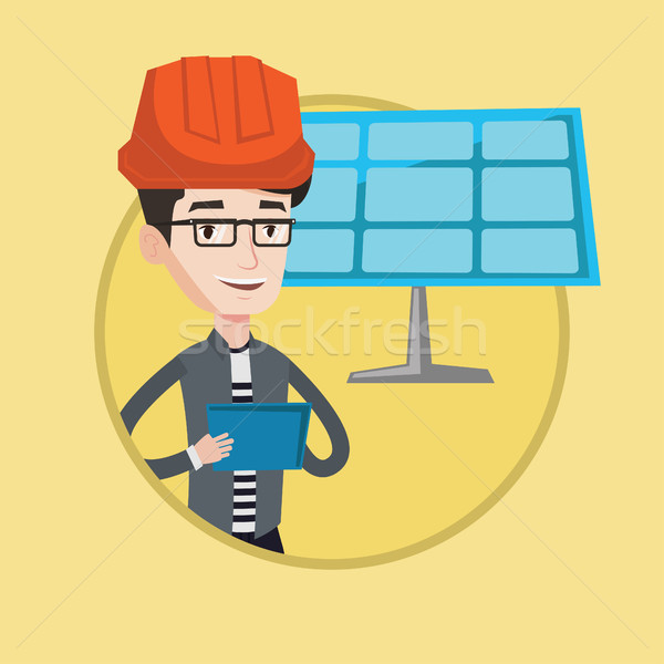 Masculino trabalhador energia solar planta engenheiro Foto stock © RAStudio