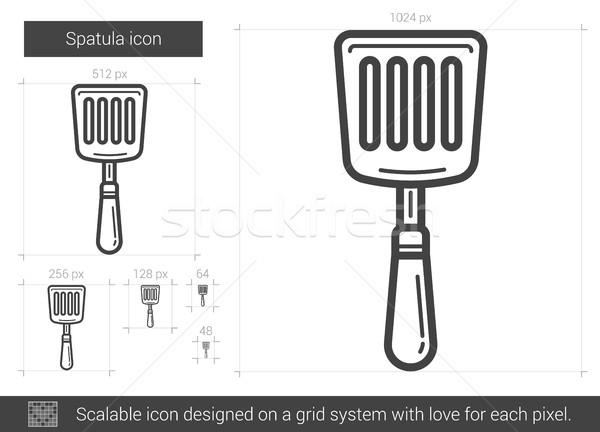 Espátula línea icono vector aislado blanco Foto stock © RAStudio