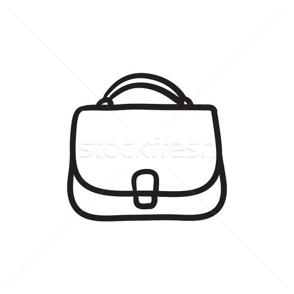 женщины сумочка эскиз икона веб мобильных Сток-фото © RAStudio