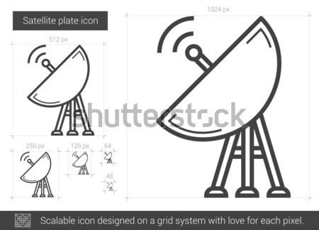 Satelitarnej tablicy line ikona wektora odizolowany Zdjęcia stock © RAStudio