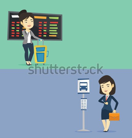 Young woman waiting for flight at the airport. Stock photo © RAStudio