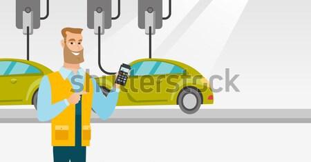 ワーカー 車 白人 工場 幸せ ストックフォト © RAStudio