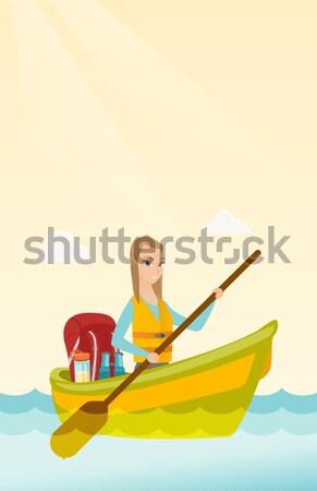 Foto stock: Mujer · equitación · kayak · África · río · cráneo