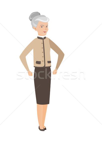 Senior caucasian angry business woman screaming Stock photo © RAStudio