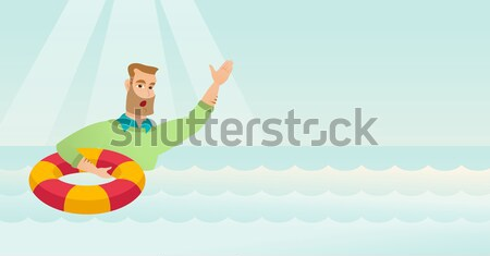Business woman sinking and asking for help. Stock photo © RAStudio