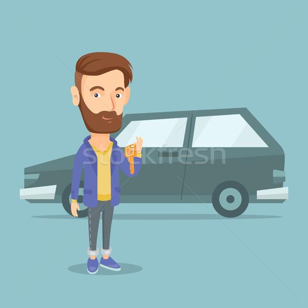 человека ключами Новый автомобиль борода Сток-фото © RAStudio