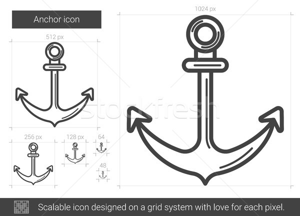 Anker lijn icon vector geïsoleerd witte Stockfoto © RAStudio