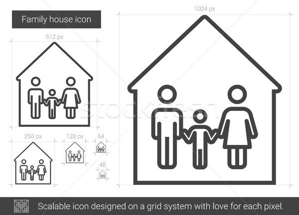 Aile ev hat ikon vektör yalıtılmış Stok fotoğraf © RAStudio