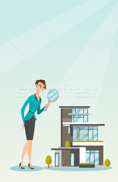 Young caucasian woman looking for house. Stock photo © RAStudio