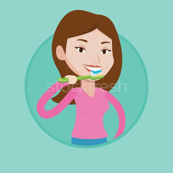 Woman brushing her teeth vector illustration. Stock photo © RAStudio
