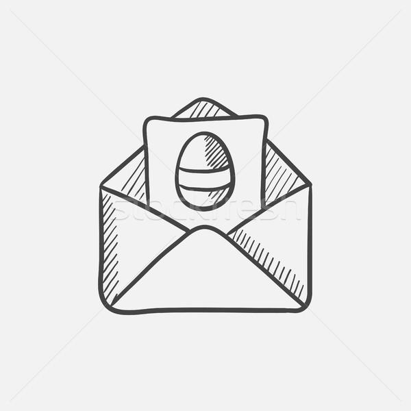 Pasqua biglietto d'auguri busta sketch icona web Foto d'archivio © RAStudio