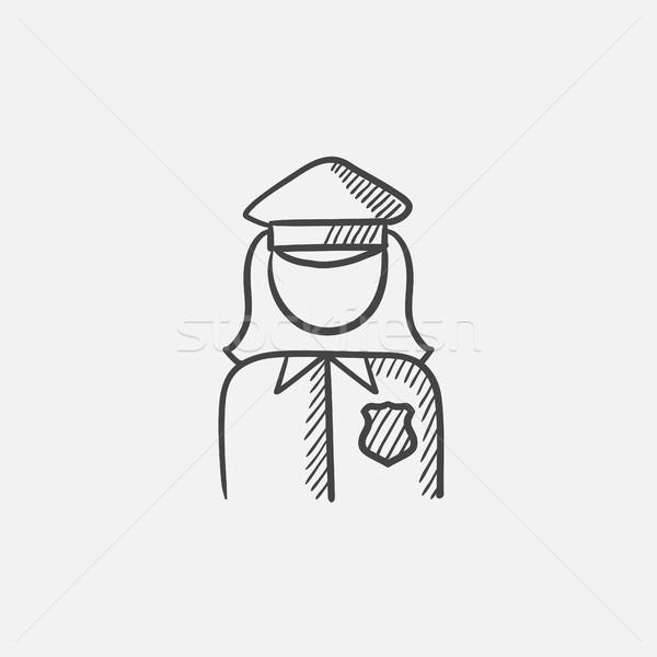 Mujer policía boceto icono web móviles infografía Foto stock © RAStudio
