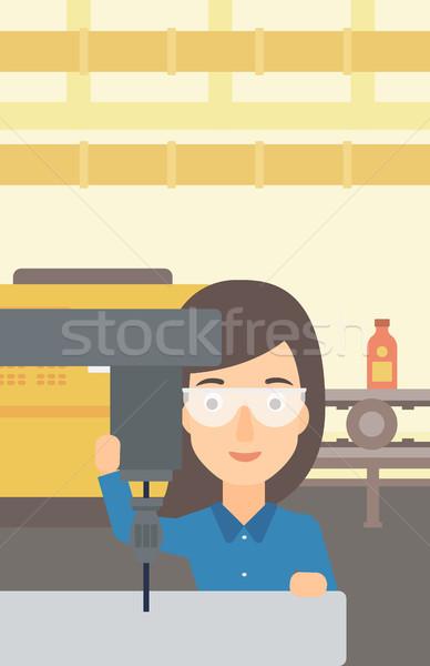 Woman working with boring mill. Stock photo © RAStudio